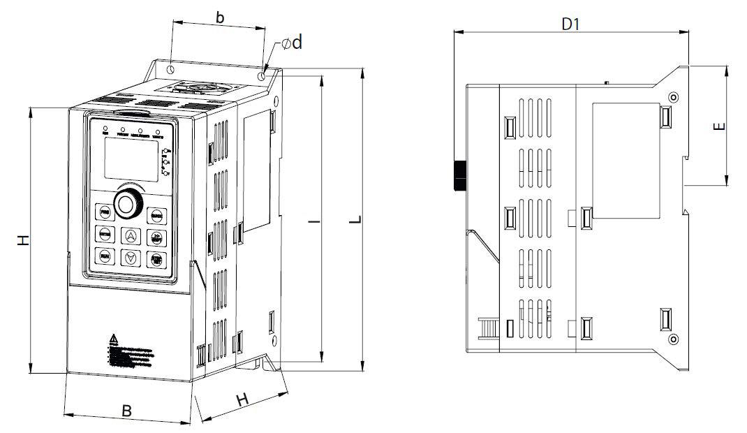 Frequenzumrichter ST500 Maße