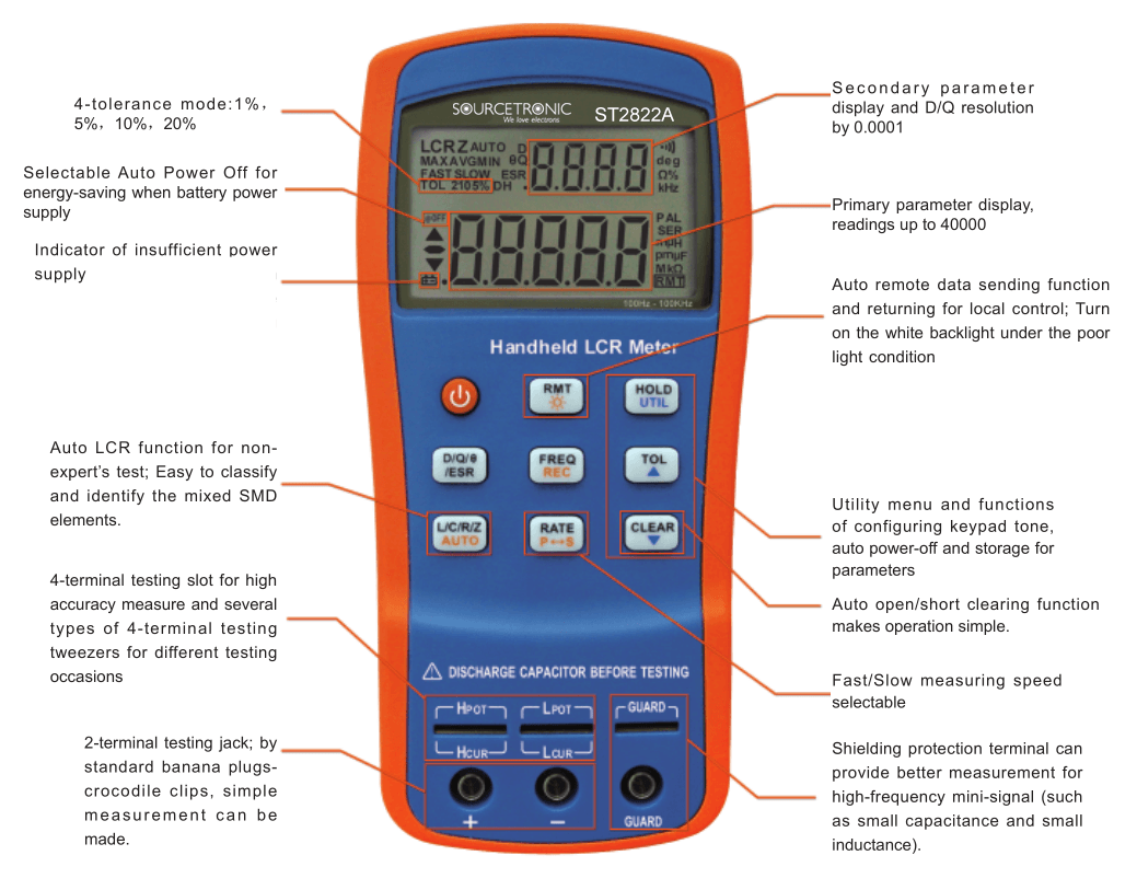 Handheld LCR Meter ST2822A Functions