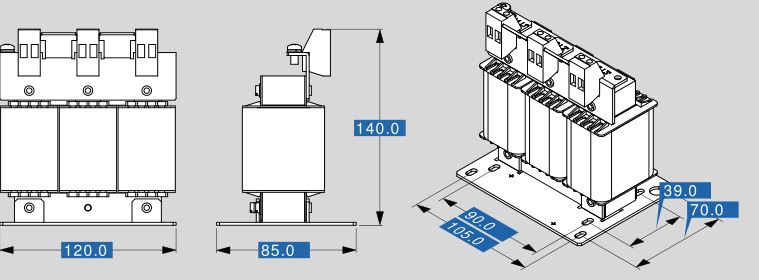 Motor reactor MR3 400 10 dimensions