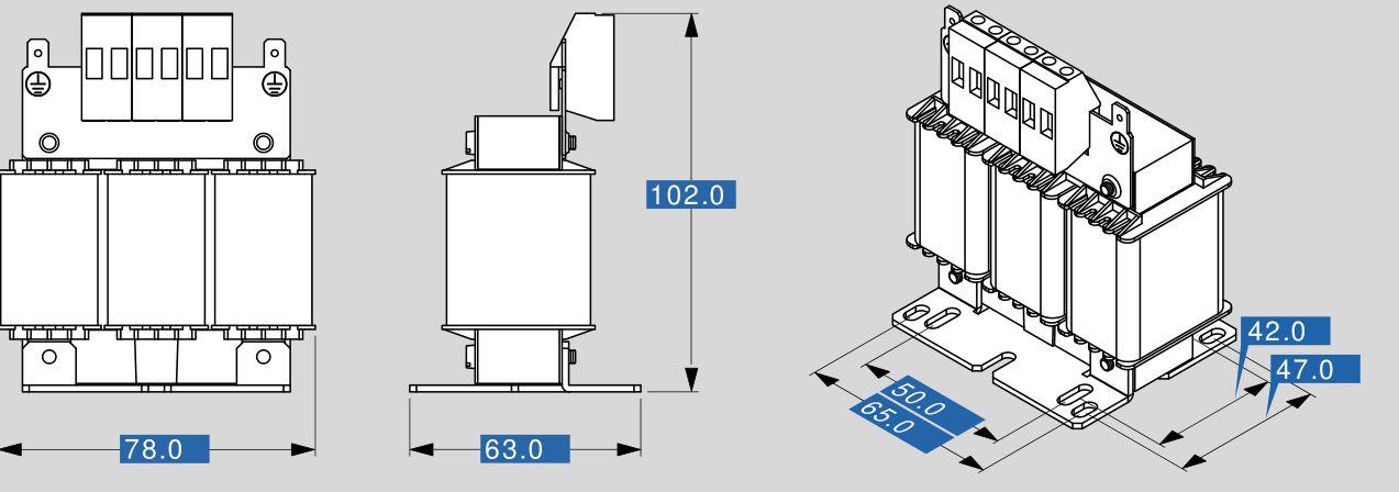 Motor reactor MR3 400 2,5 dimensions
