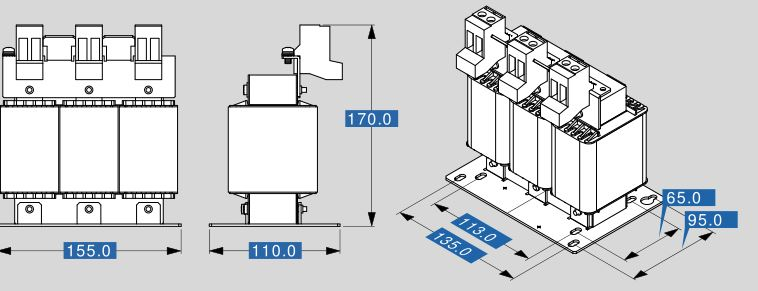 Motor reactor MR3 400 37 dimensions