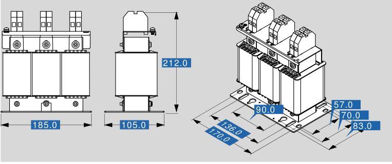 Motordrossel MR3 400 48 Abmessungen