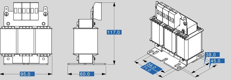 Motor reactor MR3 400 6 dimensions