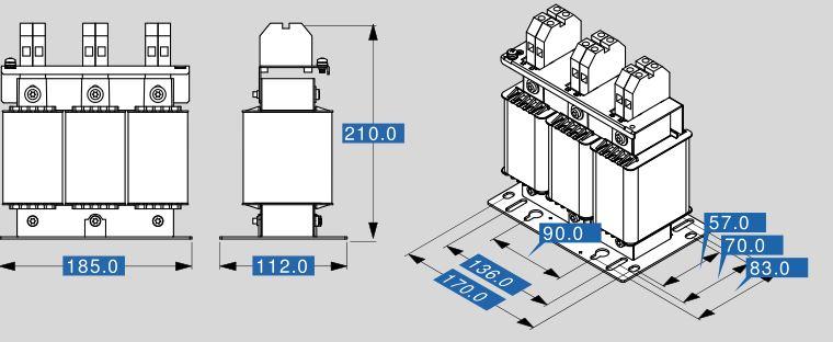 Motordrossel MR3 400 61 Abmessungen
