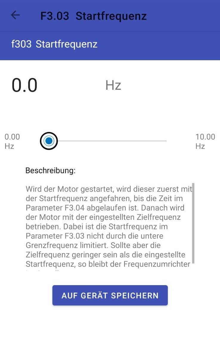 ST APP Bluetooth Bundle Startfrequenz einstellen