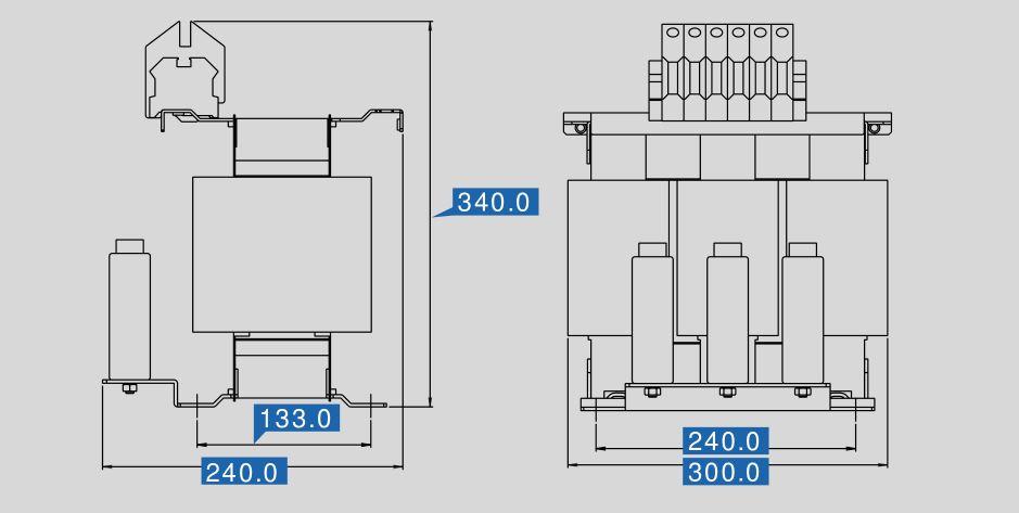 Sinusfilter SFB-N 400/72 Maße
