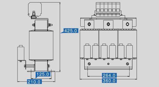 Sine filter SFB 400/115 dimensions