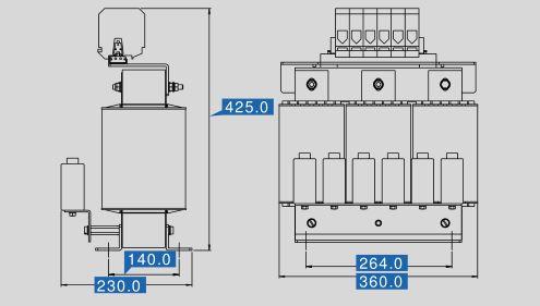Sinusfilter SFB400-150 Maße
